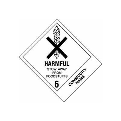"Harmful Stow Away Pesticidet 4"" x 4-3/4"" - White / Black"