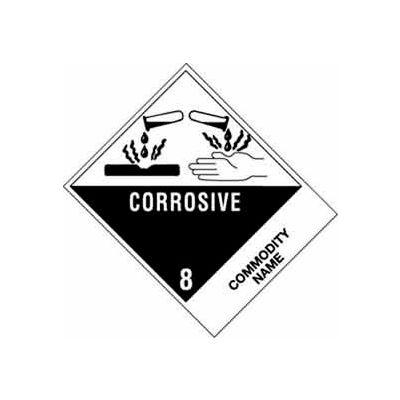 """Corrosive Liquid, Acidic, Organic NOS UN3265 4"""" x 4-3/4"""" - White /Black"""