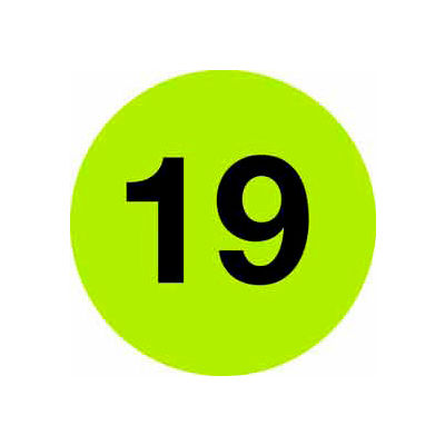 """4"""" Dia. Fluorescent Green Disc With # 19"""