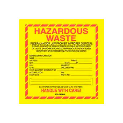 "Hazardous Waste New Jersey 6"" x 6"" - Yellow / Red / Black"