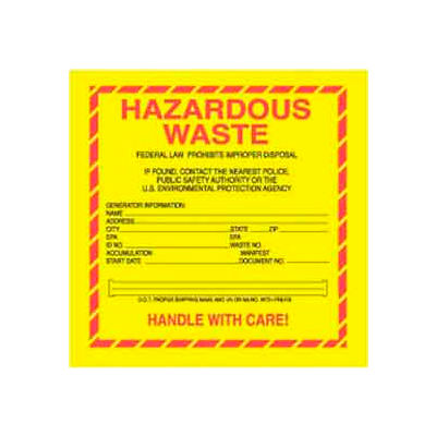 """Paper Labels with """"Hazardous Waste"""" Print, 6""""L x 6""""W, Yellow/Red/Black, Roll of 500"""