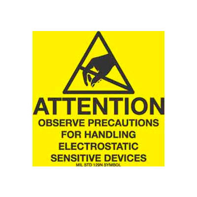 "Attention Observe Precaution 2"" x 2"" - Yellow / Black"