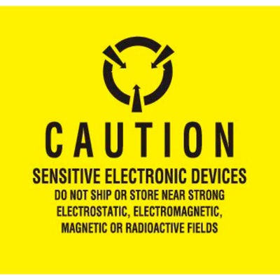 "Caution Sensitive Electronic Devices 2"" x 2"" - Yellow / Black"