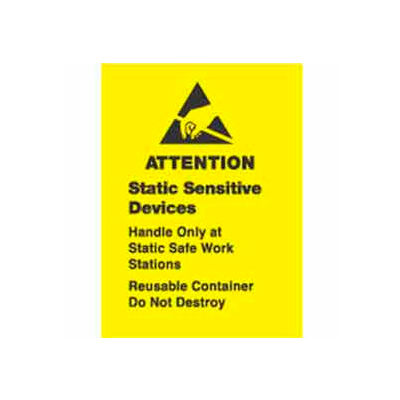 """Attention Contents Static Sensitive 1"""" x 1-1/2"""" - Yellow / Black"""