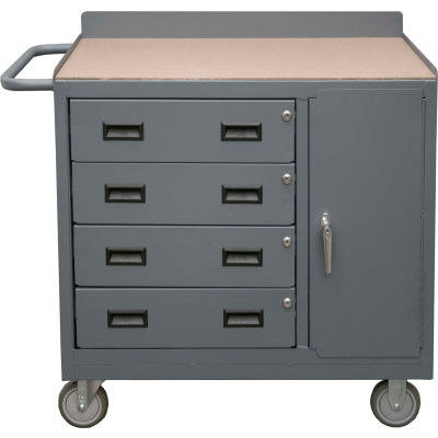 Durham 2211A-TH-LU-95 Mobile Bench Cabinet - 4 Drawers & Square Edge Top 41-7/8 x 18-1/8 x 38-1/2