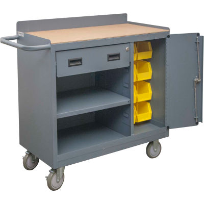 "Durham 2212A-BLP-8B-LU-95 Mobile Bench Cabinet 8 Bin & 1 Drawer - 41-7/8""W x 18-1/8""D x 38-1/2""H"