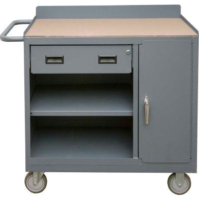 """Durham 2212A-TH-LU-95 Mobile Bench Cabinet 1 Drawer & Square Edge Top 41-7/8""""W x 18-1/8""""D x 38-1/2""""H"""