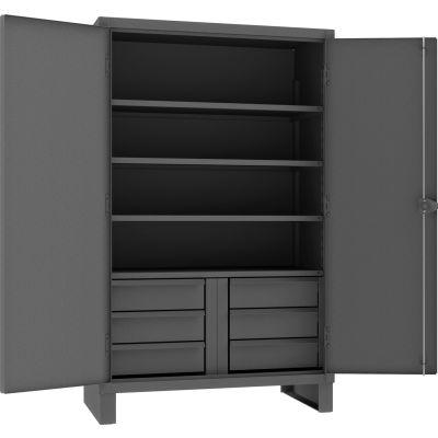 "Durham Heavy Duty Cabinet HDCD244878-6B95 - 12 Gauge With 6 Drawers & 4 Shelves, 48""W x 24""D x 78""H"