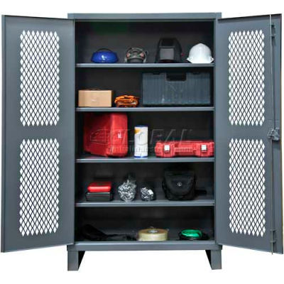 "Durham Heavy Duty Ventilated Storage Cabinet HDCV246078-4S95 - 12 Gauge 60""W x 24""D x 78""H"