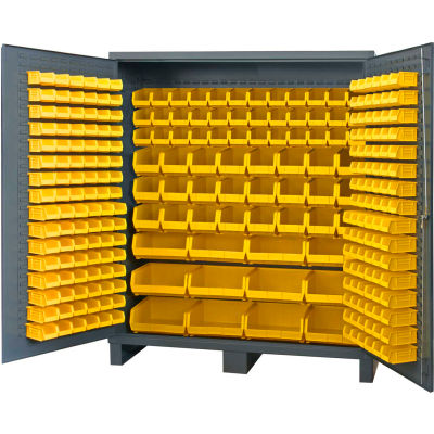 "Durham Jumbo Bin Cabinet SSC-722484-BDLP-264-95 - 264 Yellow Hook-On Bins, 72""W x 24""D x 84""H"