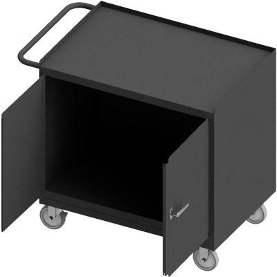 "Durham Mobile Bench Cabinet - Steel Top, 2 Locking Doors - 42-1/8""W x 25-13/16""D x 36-3/8""H"