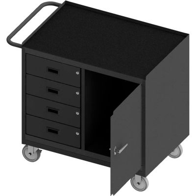 Durham Mobile Bench WorkStation - Rubber Mat Top, Locking Door & 4 Drawers 42-1/8 x 24-1/4 x 36-3/8