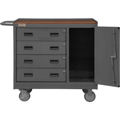 Durham Mobile Bench WorkStation - Shop Top, Locking Door & 4 Drawers - 42-1/8 x 24-1/4 x 36-3/8