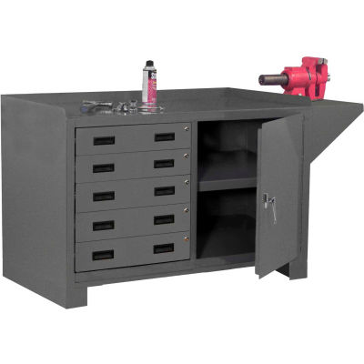 Durham Cabinet Workbench - Vice Shelf, Back/End Stop, 5 Drawers, Door Lock 60-1/8 x 24-1/4 x 36-3/16