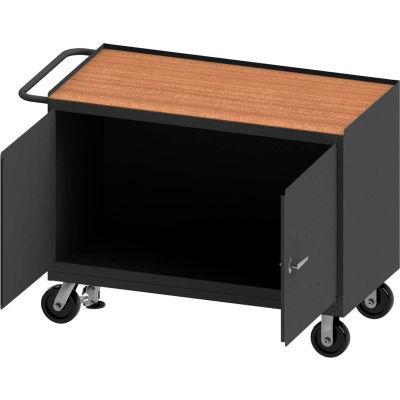 Durham Mobile Bench Cabinet - Shop Top, 2 Locking Doors & Floor Lock - 54-1/8 x 24-1/4 x 37-3/4