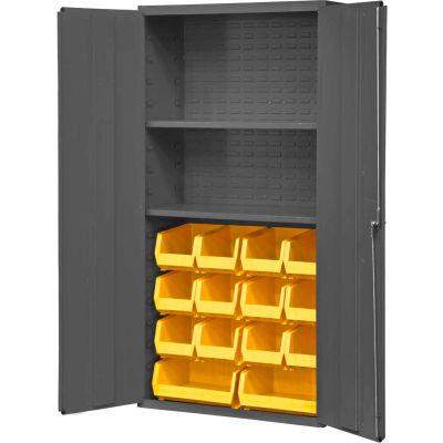 """Durham Welded Bin Cabinet 3602-BLP-14-2S-95 - 36"""" Flush Door 14 Yellow Bins 2 Shelves"""