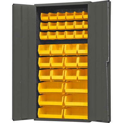 "Durham Welded Bin Cabinet 3602-BLP-36-95 - 36"" Flush Door 36 Yellow Bins"