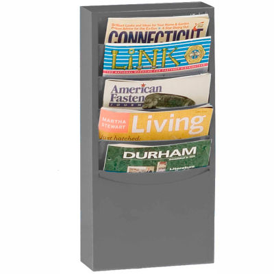 5 Pocket Vertical Literature Rack - Gray