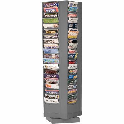 80 Pocket Rotary Literature Rack - Gray