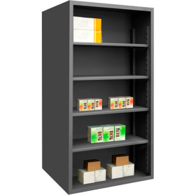 "Durham 5019-4S-95 Extra Heavy Duty/Enclosed Shelving 60"" x 24"" x 72"", 4 Shelf, Gray"