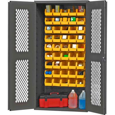 "Durham Expanded Metal Door Bin Cabinet EMDC361845B95 - 45 Yellow Bins 36""W x 18""D x 72""H"