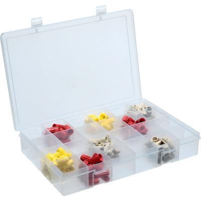 Durham Large Plastic Compartment Box LP24-CLEAR - 24 Compartments, 13-1/8x9x2-5/16 - Pkg Qty 5