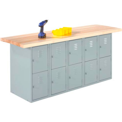 Wall & Island Bench - 8' x 2' - Gray