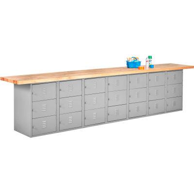Wall & Island Bench (Horizontal Lockers) - 12' x 2' - Gray