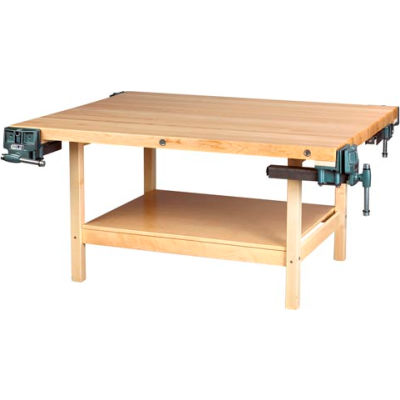 """Diversified Woodcrafts 60"""" W x 24""""D Woodworking Bench, Maple"""