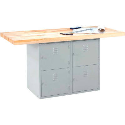 2-Station Workbench W/0 Vises (4 Lockers) - Gray