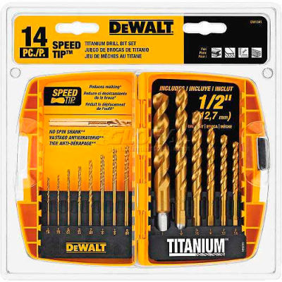 DeWALT® Titanium Speed Tip Drill Bit Set, DW1341, 14 Piece Set