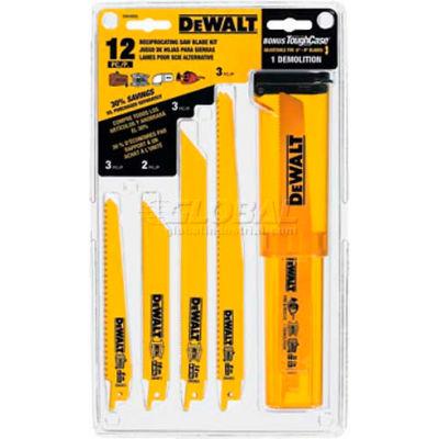 DeWALT® Bi-Metal Reciprocating Saw Blade Set, DW4892, 12 Piece Set W/Telescoping Case