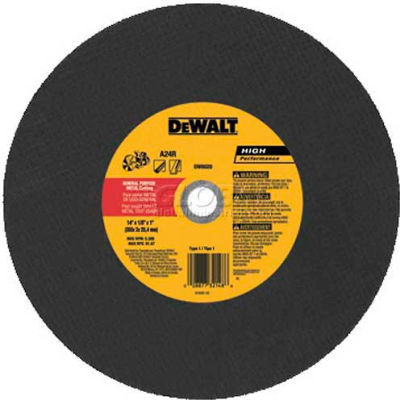 "DeWalt DW8020 High Speed Metal Cutting Wheel 14"" DIA.1/8"" Thick  24 Grit Aluminum Oxide - Pkg Qty 10"