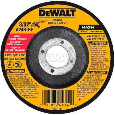 "DeWalt DW8750 Metal Cutting & Notching Wheel Type 27 4-1/2"" DIA. 24 Grit 24 Grit  - Pkg Qty 25"