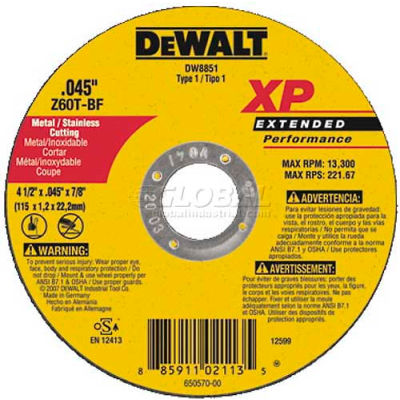 "DeWalt DW8851 Metal & Stainless Cutting Wheel 4-1/2"" DIA..045"" Thick 60 Grit Zirconia - Pkg Qty 25"
