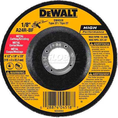 "DeWalt DWA4531 Metal Cutting Wheel Type 27 4-1/2"" DIA. 24 Grit Aluminum Oxide - Pkg Qty 25"