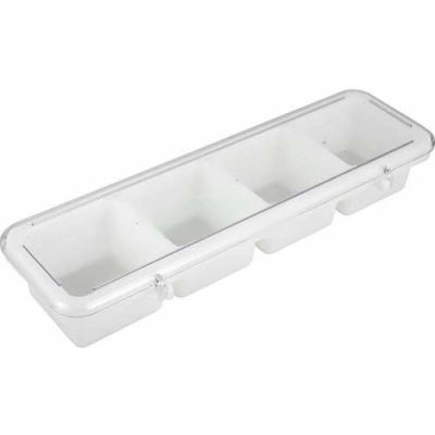 Winco BC-4P Bar Caddy, 4 Compartment, White - Pkg Qty 6