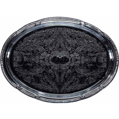 """Winco CMT-1014 Oval Serving Tray, 14-3/4""""L, Chrome, Gadroon Edge W/ Engraving - Pkg Qty 12"""