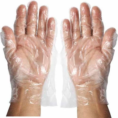 Winco GLP- M Disposable Plastic Food Service Gloves, Medium, Clear, 500/Box