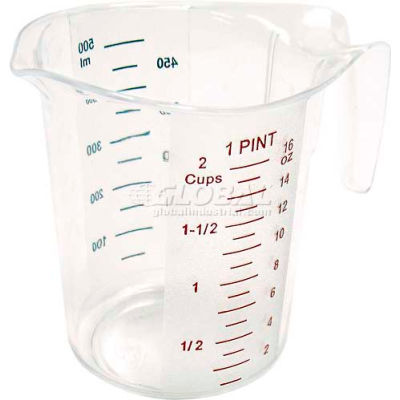 Winco PMCP-50 Measuring Cup W/ Red & Blue Markings, 1 pt, Clear, Plastic - Pkg Qty 12
