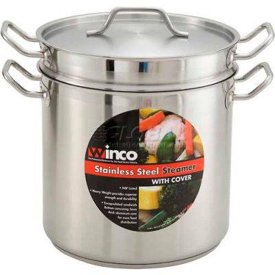 Winco SSDB-8S 8 Qt. Steamer/Pasta Cooker with Cover