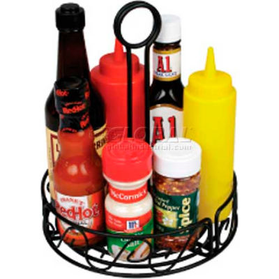 Winco WBKH-6R Round Black Wire Condiment Caddy - Pkg Qty 24