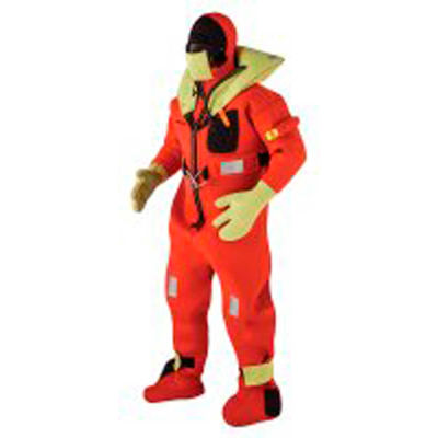 Kent 154100-200-004-13 Commercial Immersion Suit, USCG/SOLAS/MED, Red/Yellow, Adult/Universal