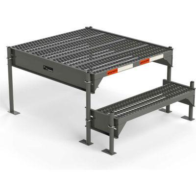"EGA Steel Custom Work Platform, 36"" W x 39"" D, 2-Step, Gray, No Handrail, 500 lb. Cap. - CW1-21-2-3"
