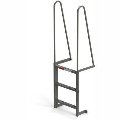 EGA Steel Walk Through Dock Ladder, 3 Step Gray - MDT3