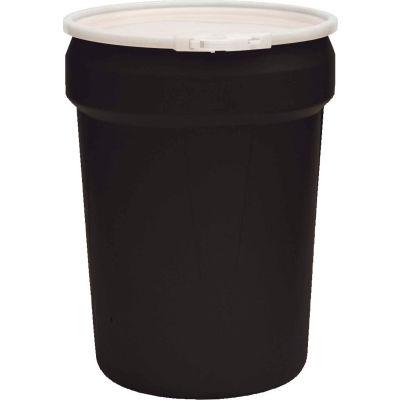 Eagle Black Plastic Lab Pack Drum 1601BLK with Plastic Lever Lock & Lid - Open Head - 30 Gallon