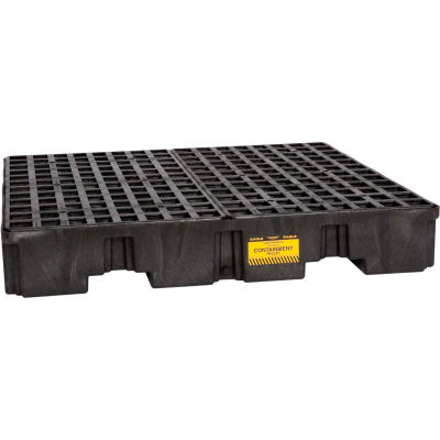 Eagle 1645B 4 Drum Low Profile Spill Containment Pallet - Black with Drain