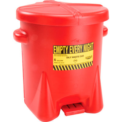 Eagle 6 Gallon Poly Waste Can W/ Foot Lever, Red - 933FL