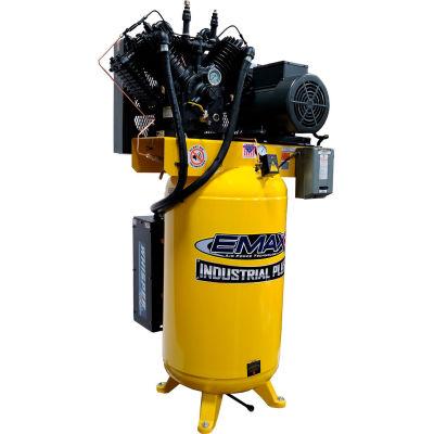 EMAX ESP10V080V1, 10HP, Two-Stage Compressor, 80 Gallon, Vertical, 175 PSI, 38 CFM, 1-Phase 208-230V