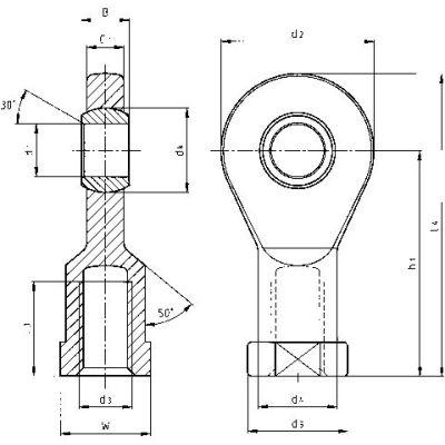 "IGUS EBLI-10R 9"" Left-Hand Female Rod-End Bearing"